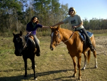 RoseAnn and Meg trail riding at Pundt